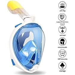 Zenoplige Masque de Plongée Schnorkel Plein Visage 180°Visible Anti-Brouillard Anti-Fuite Snorkel Masque pour GoPro, Plein Visage Respiration Voir Mieux Que Les Masques Traditionnels Blue Color L/XL