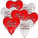 50 Herzballons Hochzeit ROT und WEIß mit Aufdruck