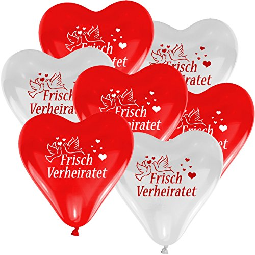 """50 Herzballons Hochzeit ROT und WEIß mit Aufdruck """"Frisch Verheiratet"""" - Herzballons für Helium geeignet - Hochzeitsspiel Luftballon steigen lassen"""