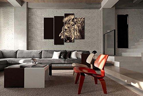 4Panel de pared Art PINTURA rugido León Animal de fotos Prints en lienzo la imagen Decor aceite para decoración de hogar moderno Impresión para baño