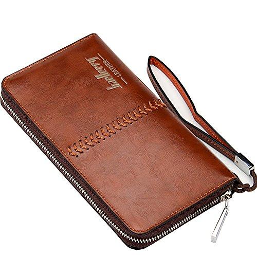Leder Lange Geldbörse mit Reißverschluss Telefon Tasche, 12 Kreditkartenfächer, 2 Bargeldfächer Stil 1 Dunkelbraun