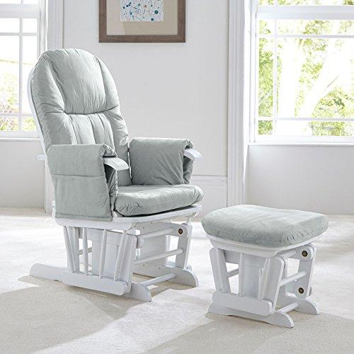 Tutti Bambini Deluxe grau glatt Glider Stuhl mit Fuß Hocker mit Standpositionen–weißen, Holz, mit weicher Stoff