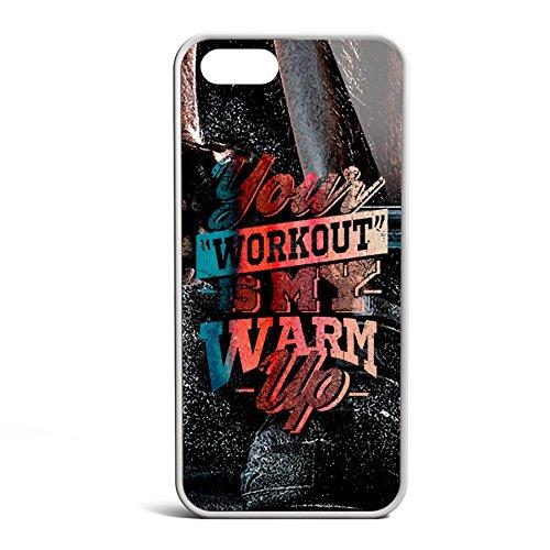 Smartcover Case Your Workout is my Warmup v2 z.B. für Iphone 5 / 5S, Iphone 6 / 6S, Samsung S6 und S6 EDGE mit griffigem Gummirand und coolem Print, Smartphone Hülle:Iphone 5 / 5S schwarz Iphone 5 / 5S weiss