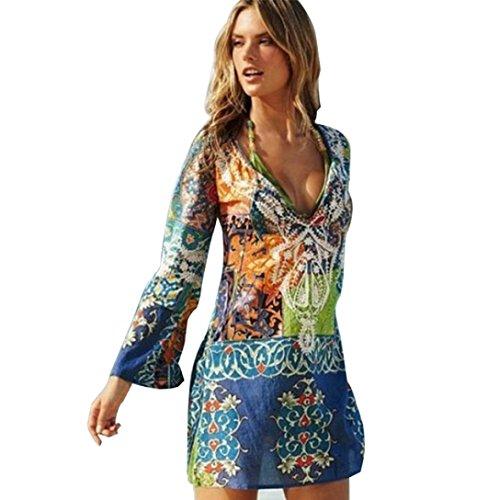Damen Kleider Frauen Blumendruck Sommerkleider Chiffon Strandkleid V-Ausschnitt Minikleid Badeanzug Lange Ärmel Bikini Bademode Vertuschen Swimwear Mantel (XL, Sexy Blau) (Badeanzüge 1950)