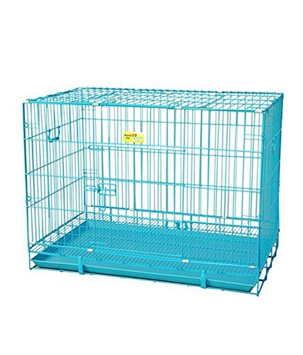 Ocean Wave Iron Petsplanet Dog Cage with Removable Tray for Puppy (Blue, 18-inch)