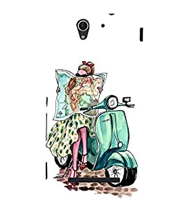 FIOBS amazing girl on scooter vespa posh high fashion black glasses map worldtour Designer Back Case Cover for Sony Xperia C3 Dual :: Sony Xperia C3 Dual D2502