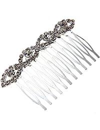 Skyllc® Encanto nupcial boda joyería cristal Rhinestone pelo clip diapositiva peinar alfiler tiara patrón de 4 ojos