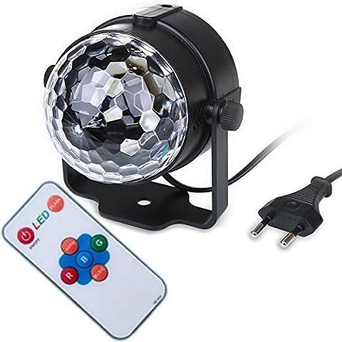 Luce con telecomando colore cambiando 3W LED RGB audio musica controllo rotante per KTV Natale festa di nozze Show Club Pub discoteca DJ Show