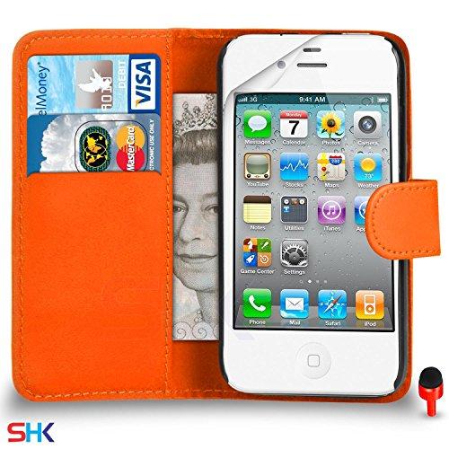 Apple iPhone 4 / 4S Pack 1, 2, 3, 5, 10 Protecteur d'écran & Chiffon SVL0 PAR SHUKAN®, (PACK 5) Portefeuille Orange