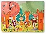 Dida - Orologio in legno da parete e da tavolo per la camera dei bambini con animali che giocano nel bosco