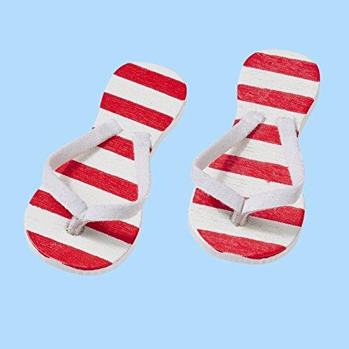 Flip-Flop rot gestreift, ca. 3 cm, Btl. a 2 Paar