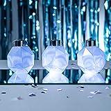 Lights4fun 3er Set LED Weihnachtskugeln weiß Batteriebetrieb