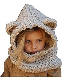 Freessom Bonnet Echarpe Cape Hiver Cagoule Ours Unisexe Bebe Enfant Garcon  Fille Mignon Kawaii Chaud Tricote Laine Chapeau Bobs… 75f5636aa8b