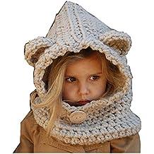 Freessom Bonnet Echarpe Cape Hiver Cagoule Ours Unisexe Bebe Enfant Garcon  Fille Mignon Kawaii Chaud Tricote 2d3fa047a51