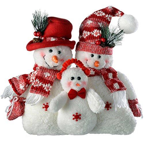 WeRChristmas–Figura de muñeco de Nieve Familia Navidad decoración, 30cm, Color Rojo/Blanco