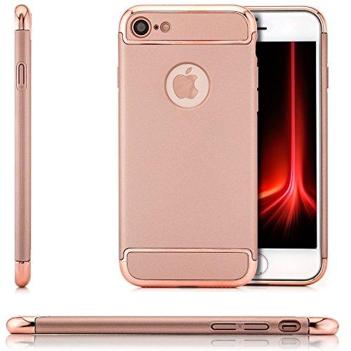 Saxonia iPhone 8 / 7 Hülle Case Cover Ultra TPU Slim Backcover Schale + Rahmen mit extra Kantenschutz Rot Rosa