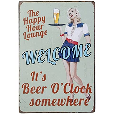 ULTNICE Vintage Metal Post Bar Signs Plauge Tin Sign Advertising for Pub Shop Wall Decor,It's Beer
