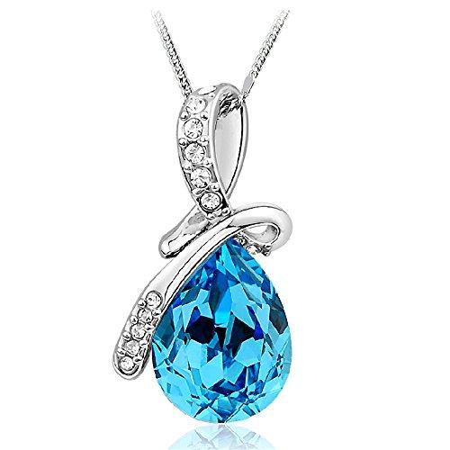 925 Sterling Silber Teardrop Blue Stone Zirkonia Halskette für Frauen - Teardrop Ringe Amethyst