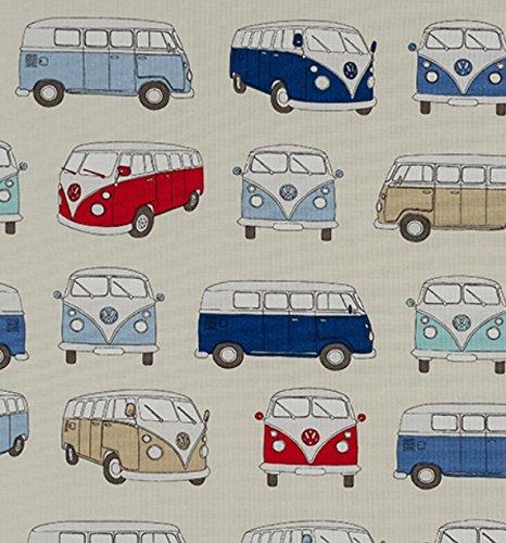 Fryetts con licencia VW Campervan azul 100% algodón cortinas cojín tela de tapicería