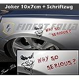 Joker Batman Aufkleber von FINEST-FOLIA klein Sticker +Schrift Autoaufkleber zB VW Opel BMW Ford (Joker klein inkl. Schrift)