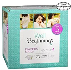 Well Beginnings By ForHoME Well Beginnings Diapers Size 5 with Vitamin E & Aloe 70 ea -1 Pack