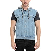 Zobello Sleeveless Hooded Denim Jacket(51165A_Light Wash Denim_L)