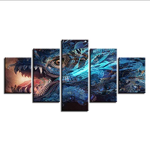Art Pictures Hd Prints Home Decor 5 Pieces Water Dragon Paintings Fantasy Game Colorful Monster Poster Modular-30Cmx40/60/80Cm,with Frame ()