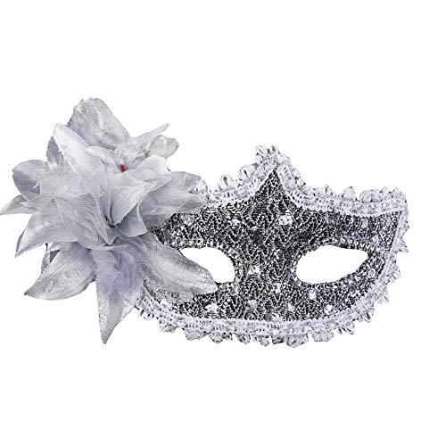Ndier Damen-Maske aus Spitze Venezia Sexy mit Masquerade Masquerade aus Strass für Mardi Gras, Anonimo Venezianische Karneval und Danza, Argenta