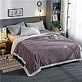 Xiuxiu Coral Fleece Blankets,Tagesdecke Luxus Kaschmirdecken Doppelschicht Weich Flauschig Warm Mikrofaser Bettdecken für Zuhause und Büro,Gray,150 * 200cm