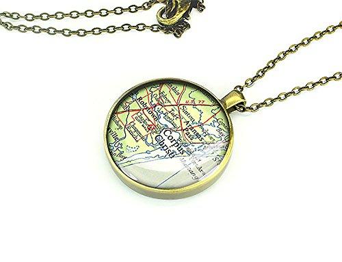 Corpus 1951 Christi mappa Texas-Collana con pendente in argento, regalo per ragazza, Rame, colore: oro, cod. M1257CP-CB