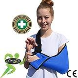 Cabestrillo para el brazo, a través del hombro, bolsillo elástico con la forma de brazo. Incluye abertura para el pulgar. Ajustable, ultraligero y con flujo de aire para máxima comodidad. Reversible para izquierda o derecha. Unisex.