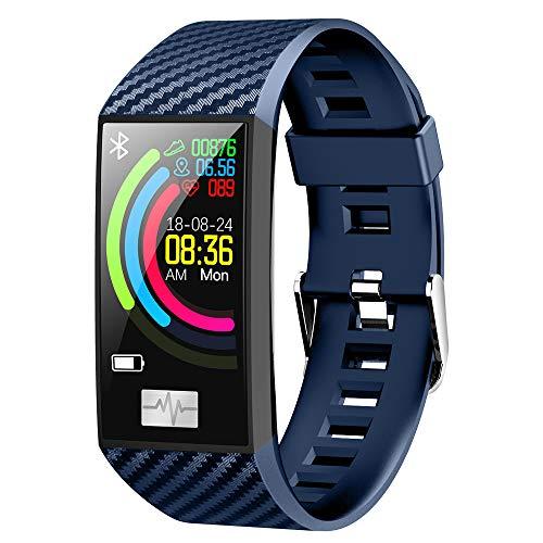 ZUKN Braccialetto Intelligente, IP68 Tracker Fitness Impermeabile con PPG + HRV Monitor Battito Cardiaco del Sonno Meteo Infos Spingendo Smartwatch per Android iOS,Blue