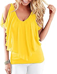 Smile YKK Chemise Femme Mousseline de Soie T-shirt Epaule Nue Blouse Col V Top Manches Courtes