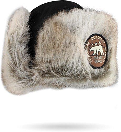 normani Damen und Herren Wintermütze Tschapka Uschanka Polarmütze mit Ohrenklappen Farbe Schwarz Größe XL/61 (Mütze Russische Xl)