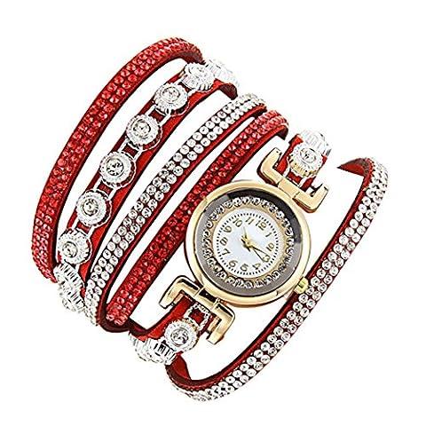 Minshao Mode Multi couches simili cuir Band Bracelet à quartz Strass Montre-bracelet pour coffret cadeau pour femme Red