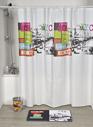 EVIDECO 1100400 Dekorativer Duschvorhang, 71 x 71 W, Mehrfarbig, rosa, grün, orange, blau -