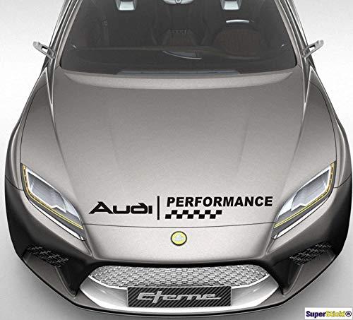 SUPERSTICKI Audi Performance Motorhaube Aufkleber ca 60 cm Aufkleber Sticker Decal aus Hochleistungsfolie Aufkleber Autoaufkleber Tuningaufkleber Racingaufkleber Rennaufkleber