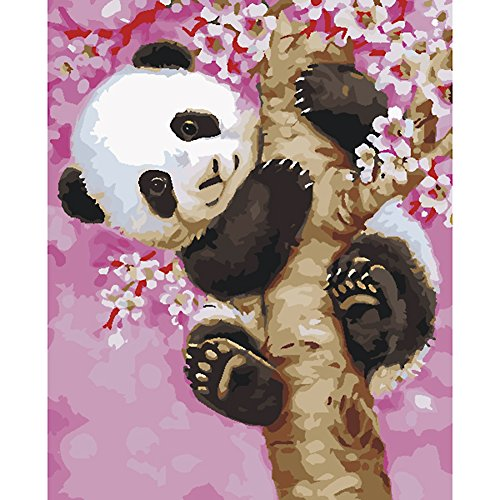 KAYI Diy Digital Ölgemälde, Malen nach Zahlen Kits-Panda Klettern den Baum 40 x50 CM