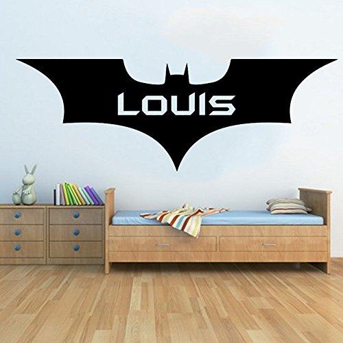 personalisierbar groß New Batman gratis Rakel. Wall Art Kinder Schlafzimmer Aufkleber, schwarz, Medium - 110cm W x 39cm H