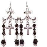 Gothic Chandelier Earrings w Swarovski Crystals & Sterling Silver Earwires - Jet Black