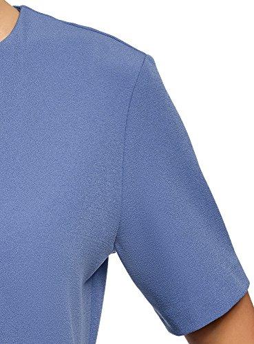 oodji Collection Damen Kleid aus Festem Stoff mit Reißverschluss am Rücken Blau (7500N)