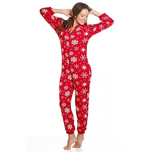 Camille - Damen Schlafanzug-Einteiler mit Kapuze - Schneeflocken-Muster - Rot - Größen 36-50 44/46