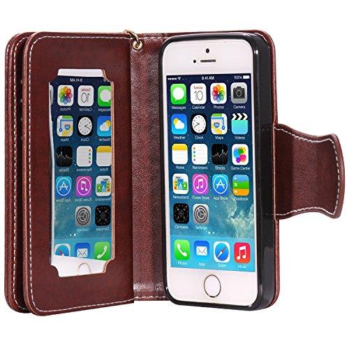 iPhone Case Cover Gepresste Blumen Geprägte Mädchen und Katzen-Muster PU-Leder-Kasten-Abdeckung mit Handschlaufe und 9-Karten-Slot-Foto-Rahmen für IPhone 5S SE ( Color : Pink , Size : IPhone 5S SE ) Brown