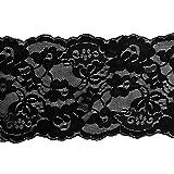 Sharplace 5 Yards 15cm Spitzenbordüre Spitzenband Band Schwarz Weiß Gewebe für Bekleidung - Schwarz, Wie beschrieben