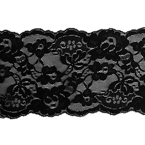 Baoblaze 5 Yards Spitzenbordüre Vintage Spitzenband Weiß Breite 14.5-15cm Zierband Stretch Spitze Blume Borte Dekoband Schleifenband Spitze Patches - schwarz, wie beschrieben -
