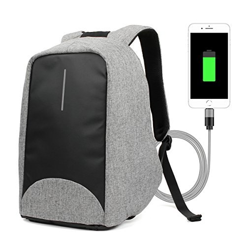 GES 15.6 Zoll Anti-Diebstahl-Laptop-Rucksack mit USB-Port, Männer & Frauen Leinwand wasserdicht Rucksack Rucksack Laptop-Tasche für die Schule Business Reisen Wandern (Grau)