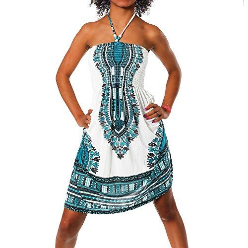 H112 Damen Sommer Aztec Bandeau Bunt Tuch Kleid Tuchkleid Strandkleid Neckholder, Farben:F-022 Türkis;Größen:Einheitsgröße