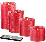 Britesta LED Wachskerzen: 4 flackernde LED-Echtwachskerzen, Höhe abgestuft, rot (Echtwachs LED Kerzen)