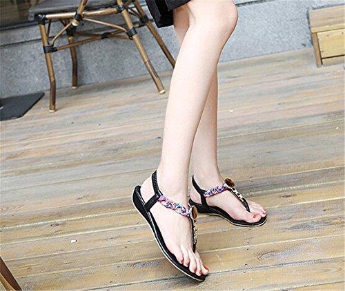 Fortuning's JDS Boemia strass tessere sandali infradito per le donne Nero