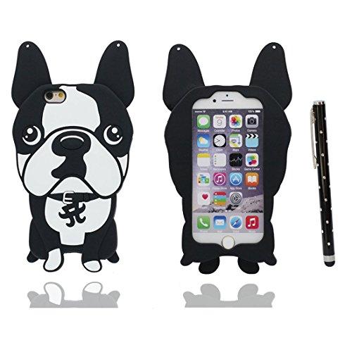 """Coque iPhone 7 Cover Cartoon Animal Design Gel en caoutchouc TPU silicone en forme -3D Bouledogue bull dog Nouveau, iPhone 7 Étui 4.7"""", iPhone 7 Case Shock Poof & stylet # 1"""